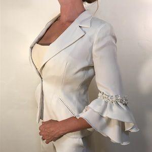Emporio Armani silk ruffle sleeve suit jacket